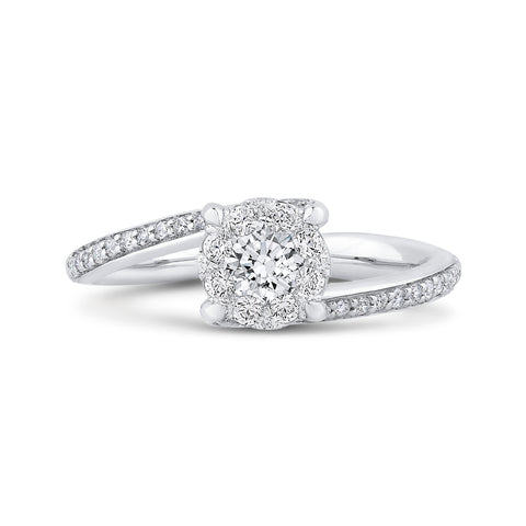14K White Gold Round Diamond Bypass Engagement Ring
