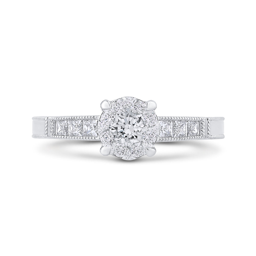 Round & Princess Diamond Engagement Ring In 14K White Gold