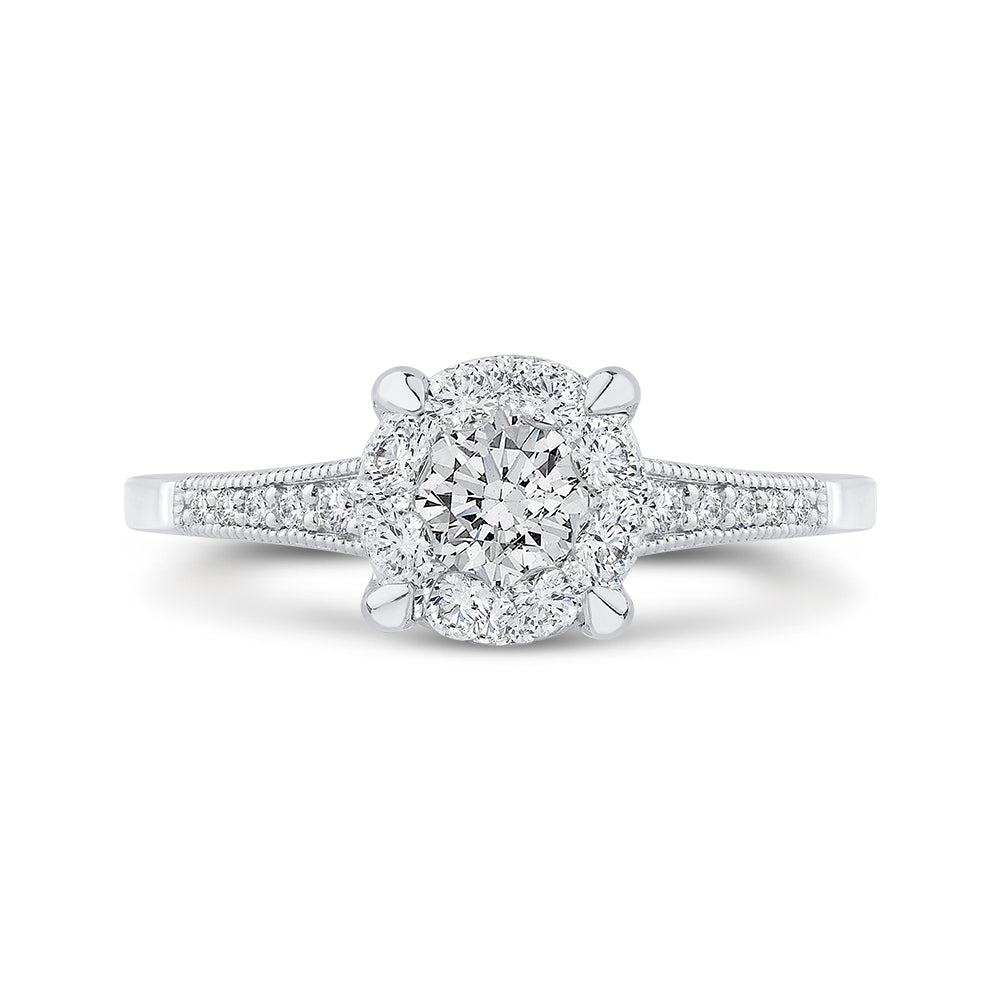 Round Cut Diamond Engagement Ring In 14K White Gold with Euro Shank