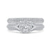 14K White Gold Round Cut Diamond Engagement Ring with Split Shank