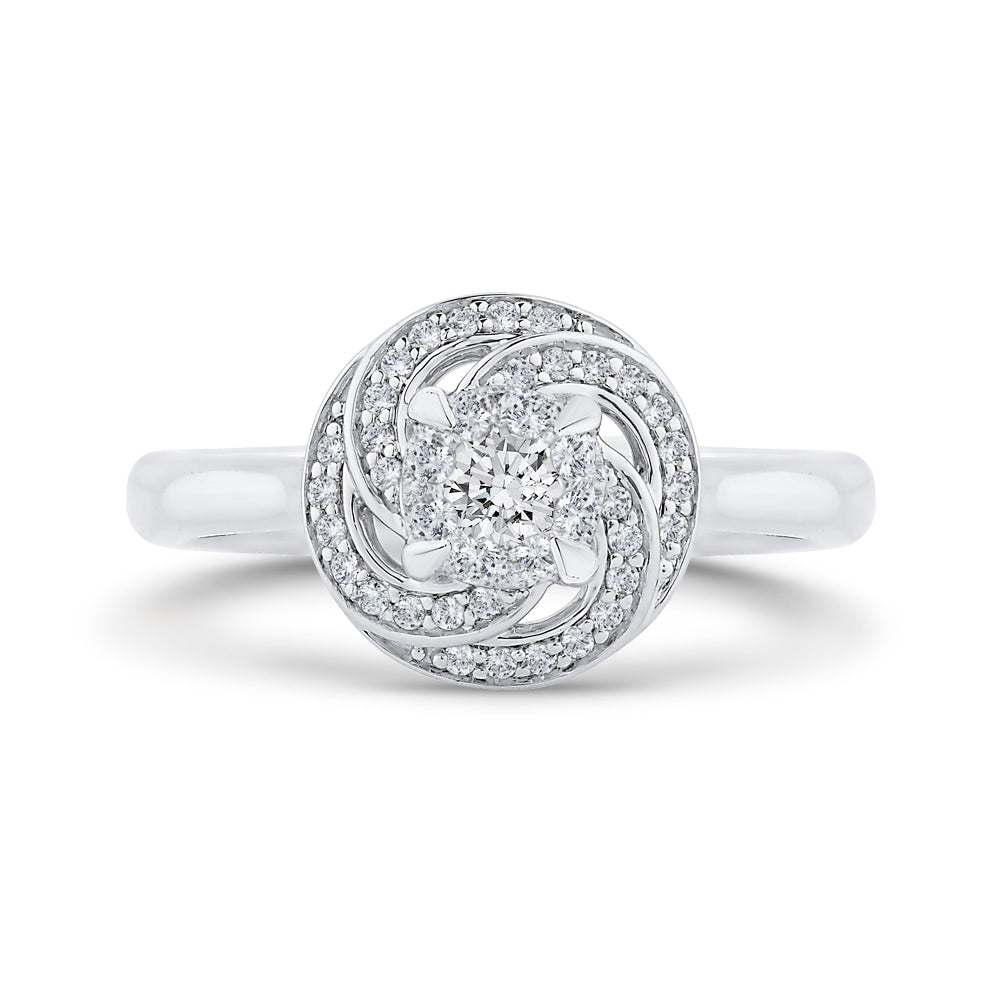 14K White Gold Round Diamond Swirl Fashion Ring