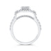 14K White Gold Round Diamond Emerald Shape Halo Engagement Ring