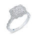 14K White Gold Round Diamond Emerald Shape Halo Engagement Ring with Euro Shank