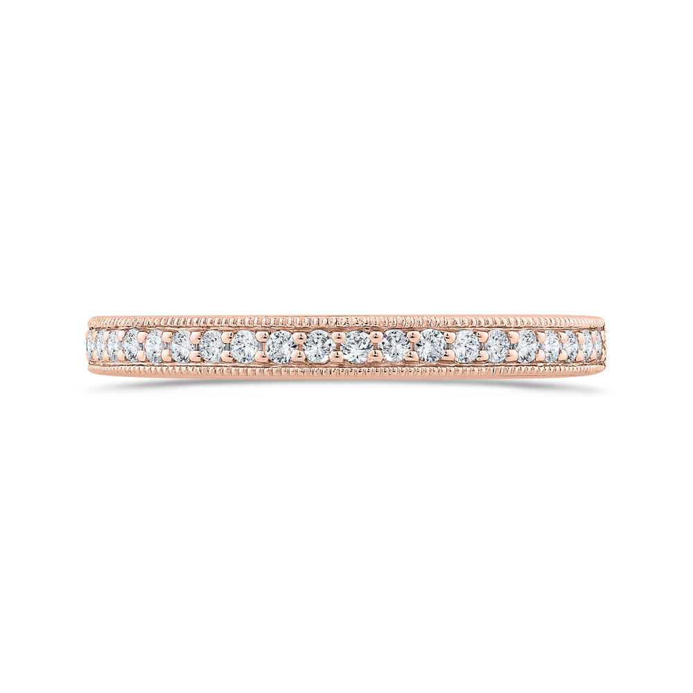 14K Rose Gold Round Diamond Half-Eternity Wedding Band