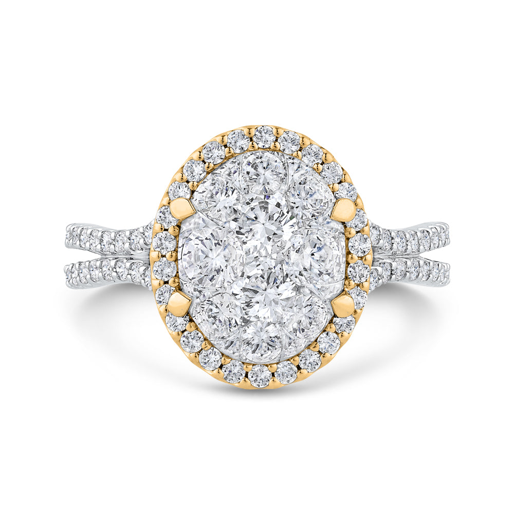 14K Two-Tone Gold Round Diamond Halo Engagement Ring
