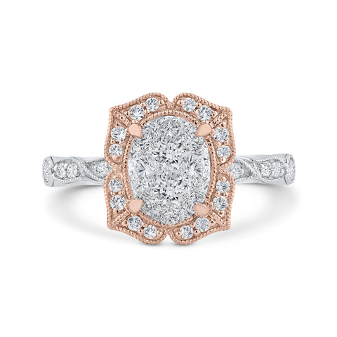 14K Two-Tone Gold Round Diamond Floral Engagement Ring