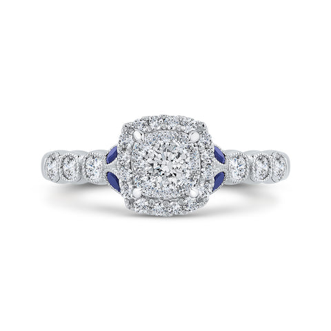 14K White Gold Round Diamond Halo Engagement Ring with Sapphire