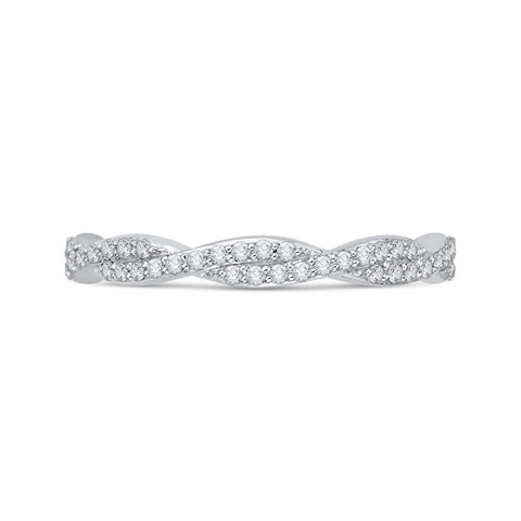 14K White Gold Round Diamond Criss-Cross Wedding Band