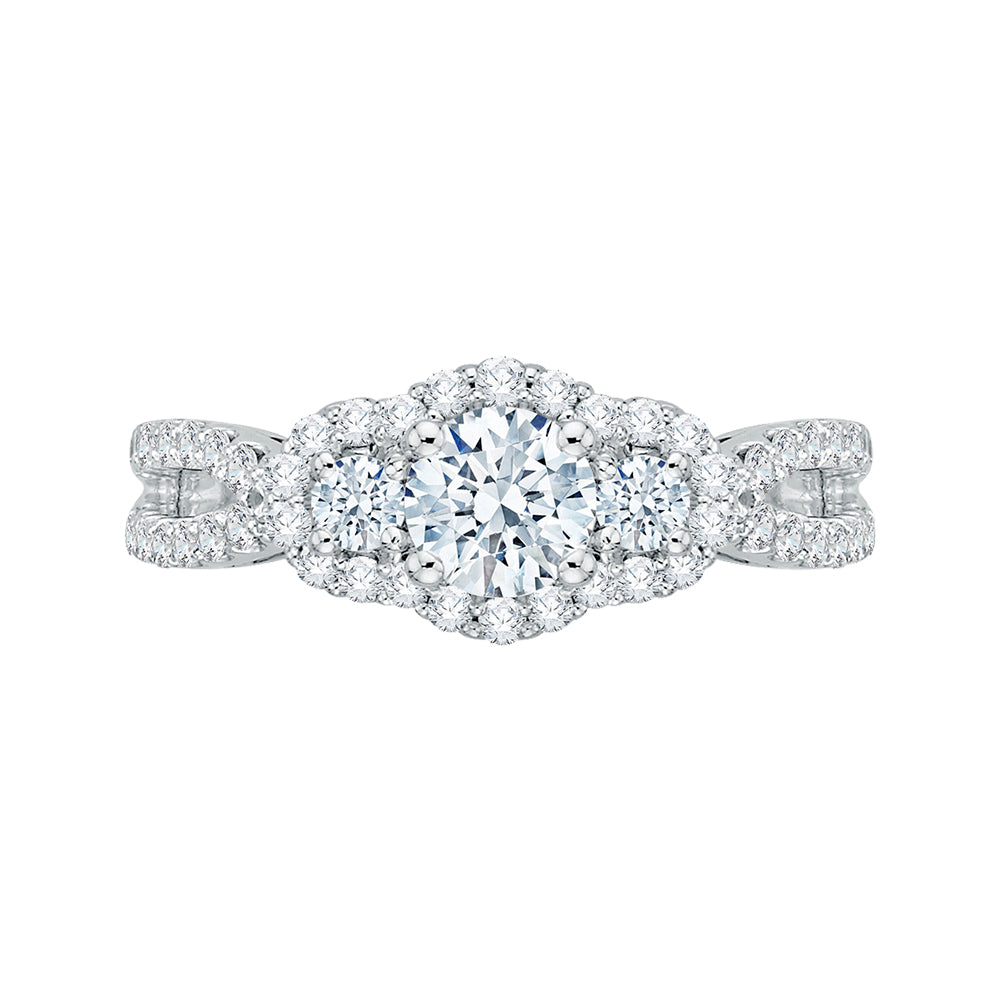 14K White Gold Round Cut Diamond Three-Stone Halo Engagement Ring
