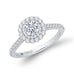 14K White Gold Round Cut Diamond Double Halo Engagement Ring