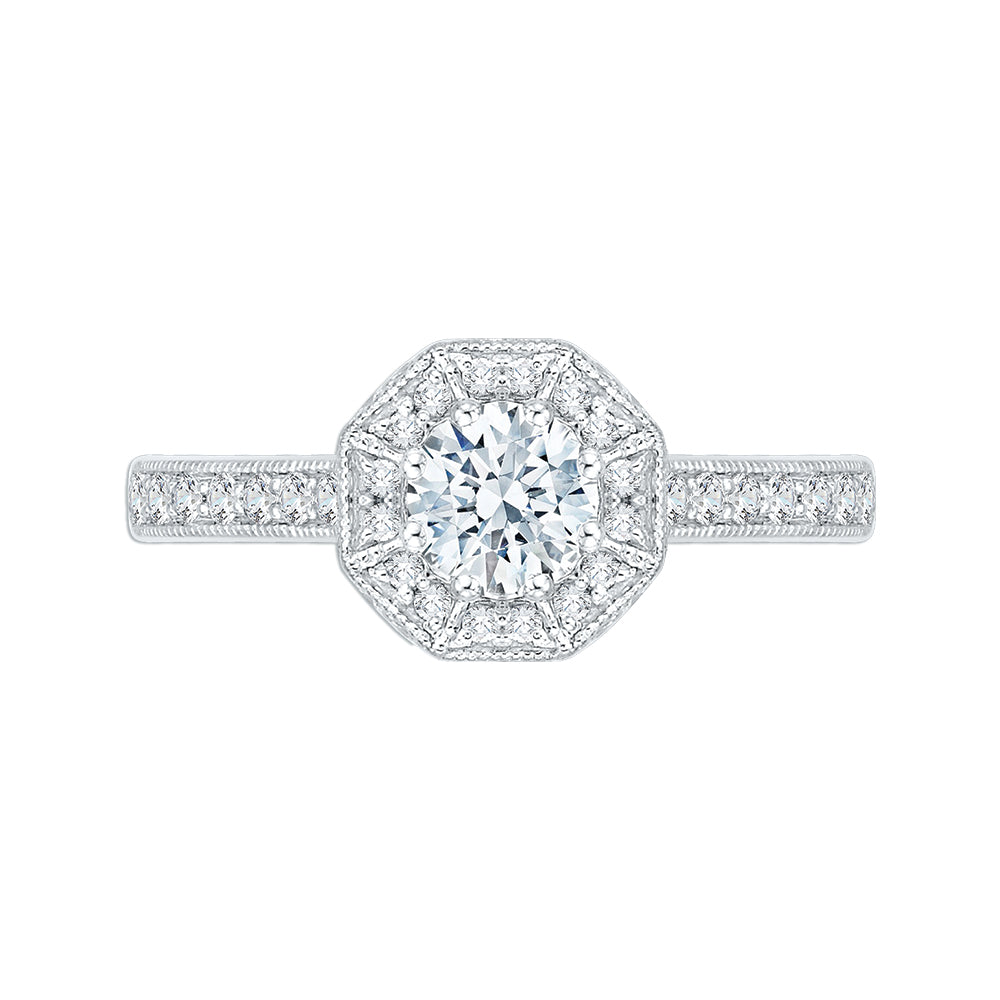 14K White Gold Round Diamond Octagon Shape Halo Engagement Ring