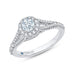 14K White Gold Round Diamond Halo Engagement Ring with Split Shank
