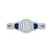 14K White Gold Round Cut Diamond And Sapphire Three-Stone Halo Engagement Ring