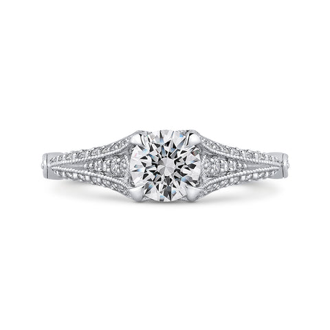 14K White Gold Round Cut Diamond Vintage Engagement Ring