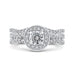 Round Diamond Halo Engagement Ring with Split Shank In 14K White Gold