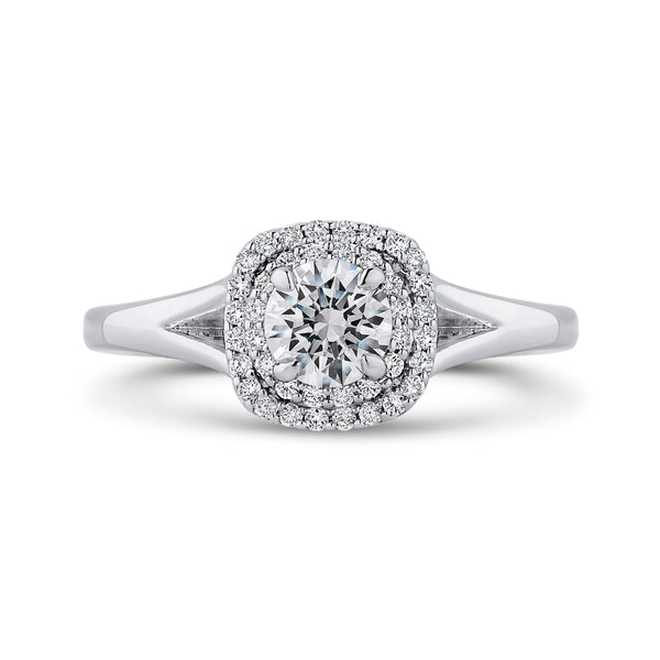14K White Gold Round Diamond Double Halo with Spit Shank Engagement Ring