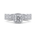 14K White Gold Round Diamond Halo Engagement Ring