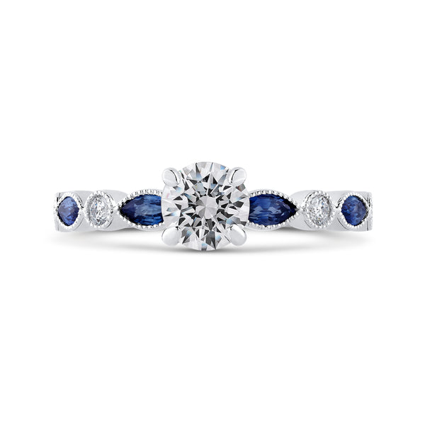 14K White Gold Round Diamond Engagement Ring with Pear Sapphire