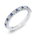 14K White Gold Round Diamond Half-Eternity Wedding Band with Sapphire