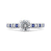 14K White Gold Round Diamond Engagement Ring with Blue Sapphire
