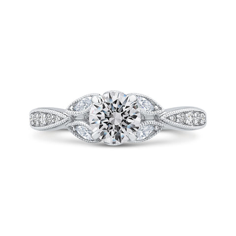 14K White Gold Floral Diamond Engagement Ring