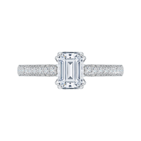 14K White Gold Emerald Cut Diamond Cathedral Style Engagement Ring