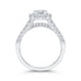 14K White Gold Emerald Diamond Halo Engagement Ring