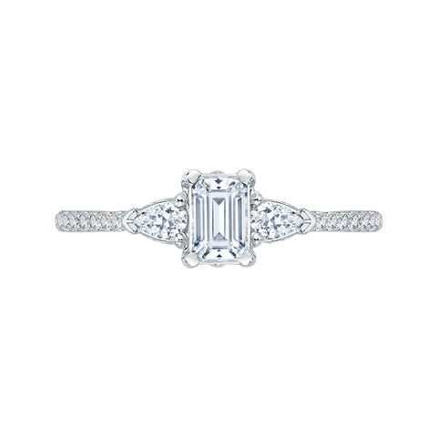 Emerald Cut Diamond Engagement Ring In 14K White Gold