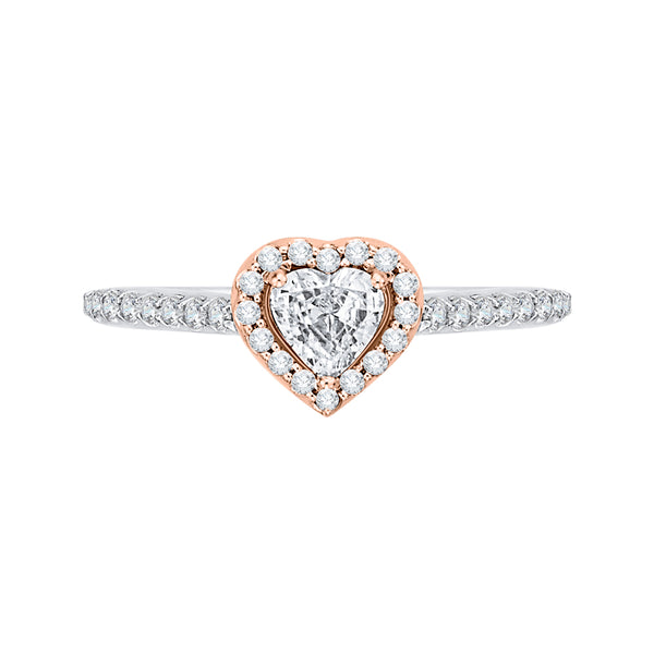 14K Two-Tone Gold Heart Shape Diamond Halo Engagement Ring