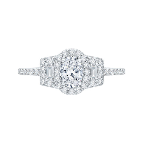 Oval Diamond Halo Engagement Ring In 14K White Gold