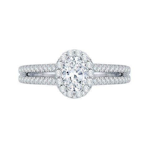 14K White Gold Oval Diamond Halo Engagement Ring with Split Shank