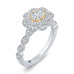 Oval Diamond Floral Halo Engagement Ring In 14K Two-Tone Gold