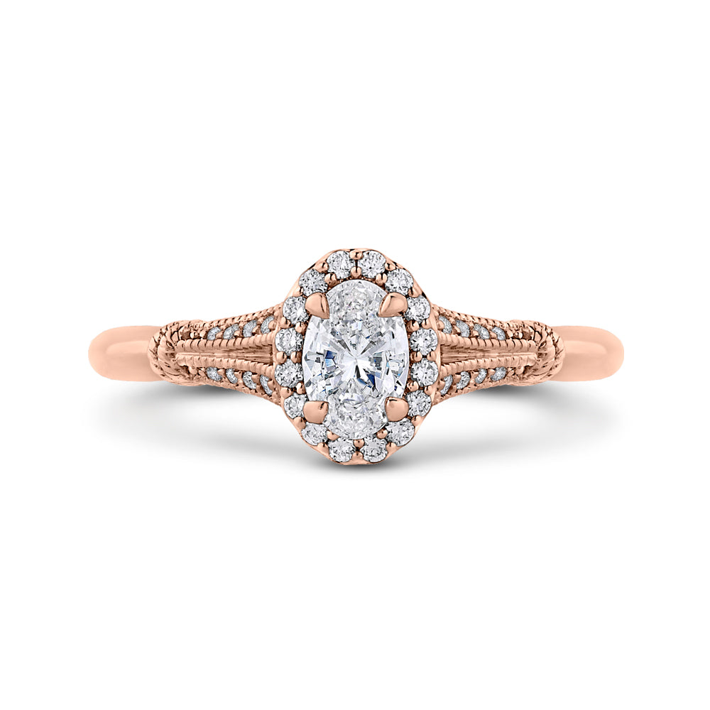 14K Rose Gold Oval Diamond Halo Cathedral Style Engagement Ring with Split Shank