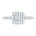 Princess Cut Diamond Halo Engagement Ring with 14K White Gold