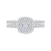 14K White Gold Cushion Diamond Double Halo Engagement Ring