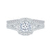 14K White Gold Cushion Cut Diamond Halo Engagement Ring