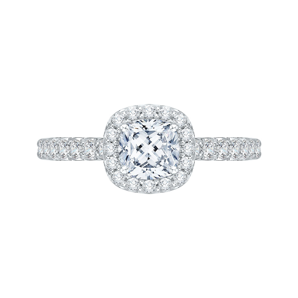 Cushion Diamond Halo Engagement Ring In 14K White Gold