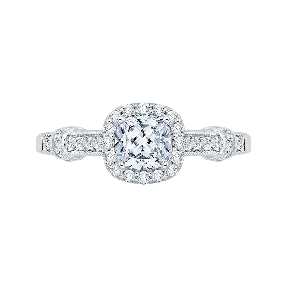 Cushion Cut Halo Diamond Engagement Ring In 14K White Gold