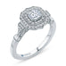 14K White Gold Cushion Cut Diamond Double Halo Vintage Engagement Ring