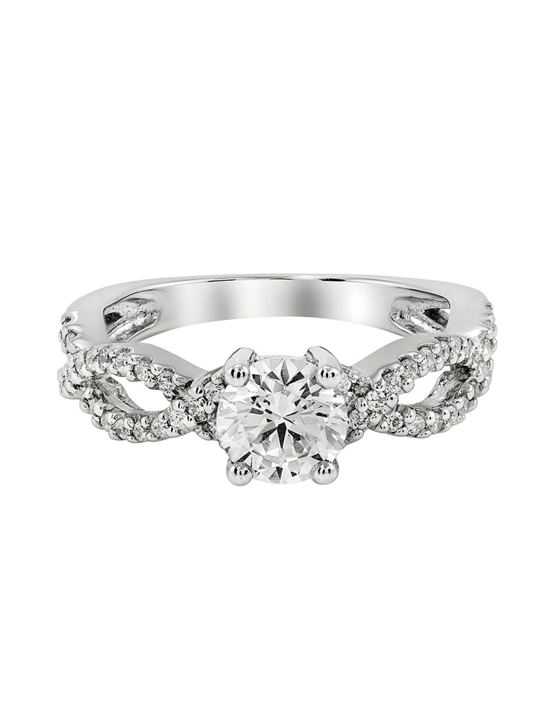 14K White Gold and Diamond Tesori Infinity Engagement Ring