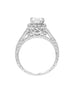 Vintage 14K White Gold and Cushion Halo Diamond Engagement Ring