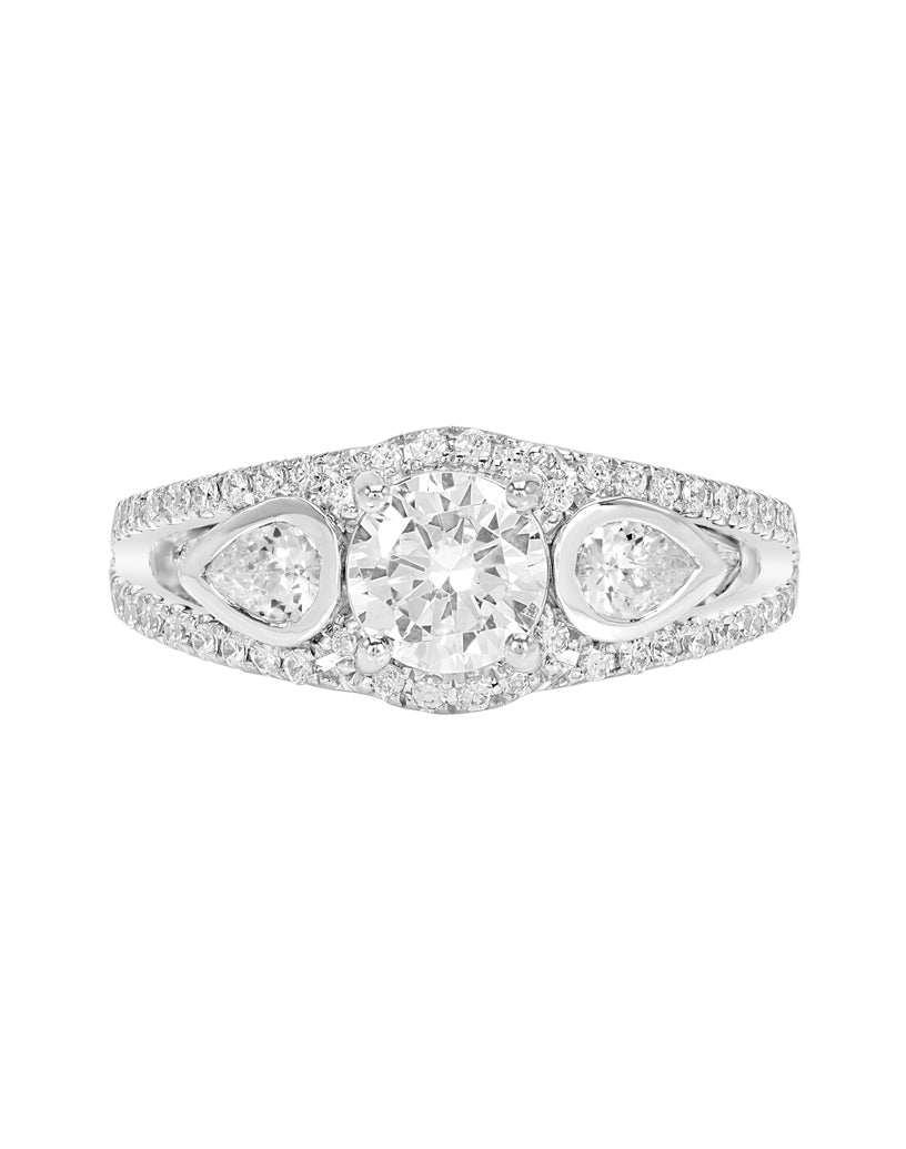 3 Stone 14K White Gold and Diamond Split Shank Engagement Ring
