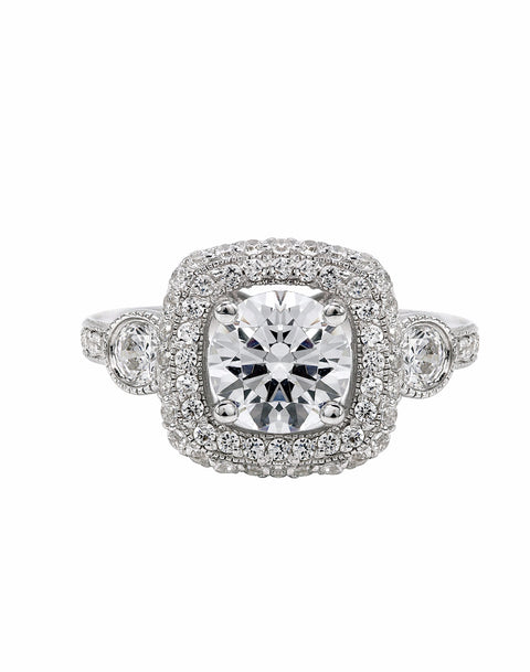 3 Stone 14K White Gold and Double Halo Diamond Engagement Ring