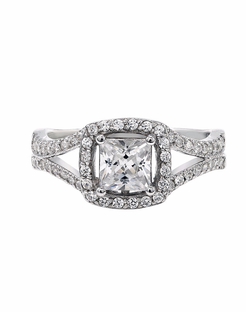 14K White Gold and Cushion Halo Diamond Split Shank Engagement Ring