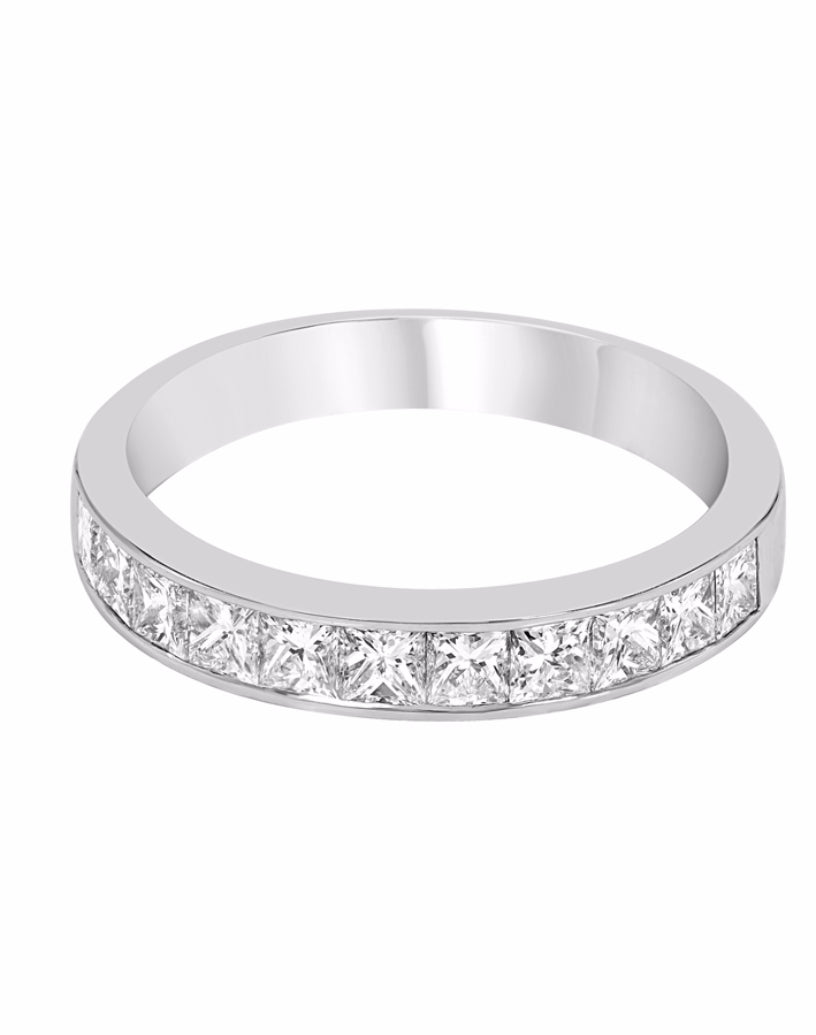 14K White Gold and Diamond Channel Wedding Band