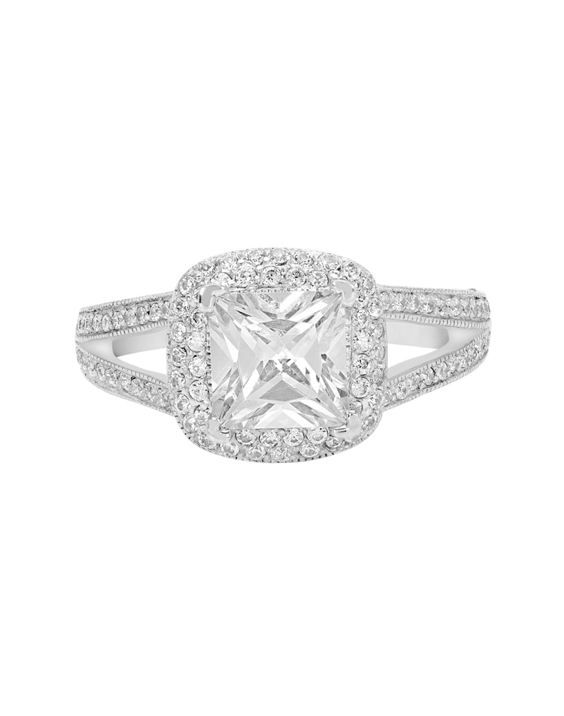 14K White Gold and Double Halo Diamond Split Shank Engagement Ring