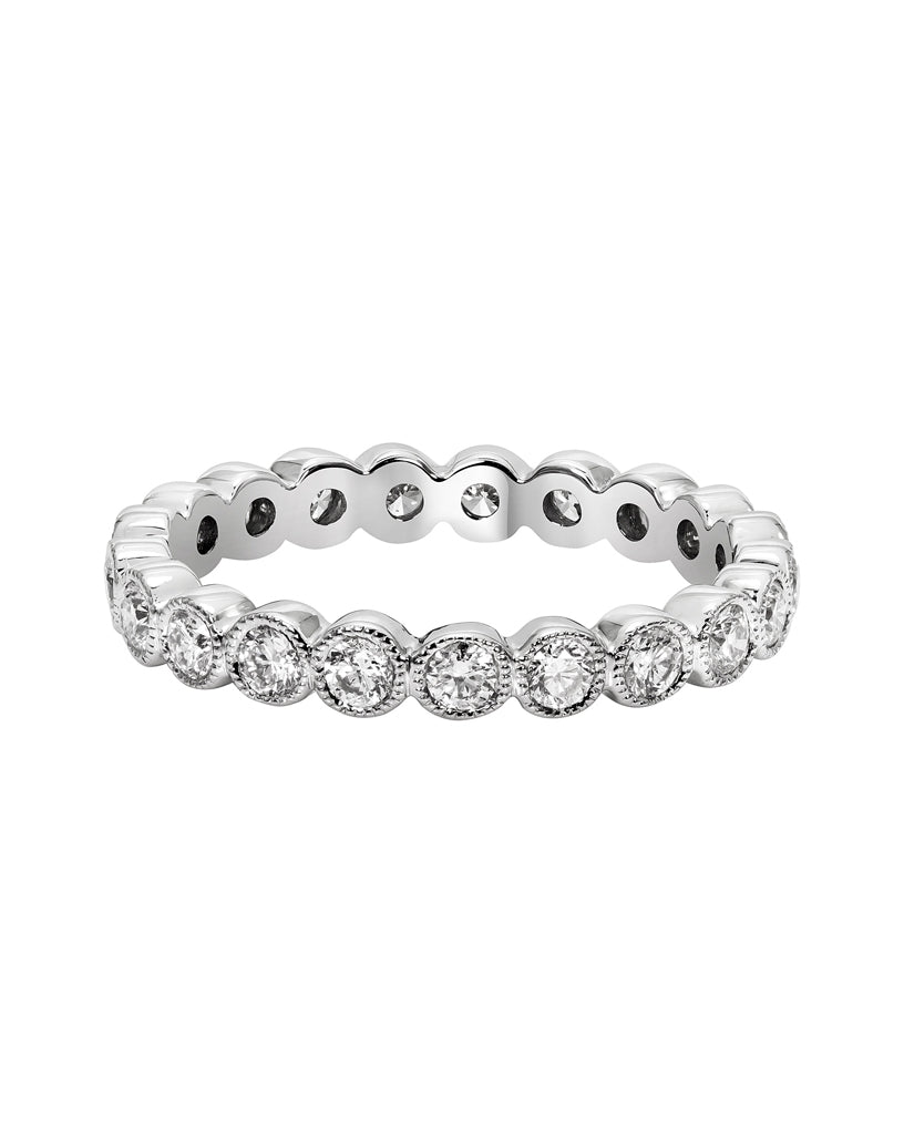 14K White Gold and Diamond Eternity Wedding Band