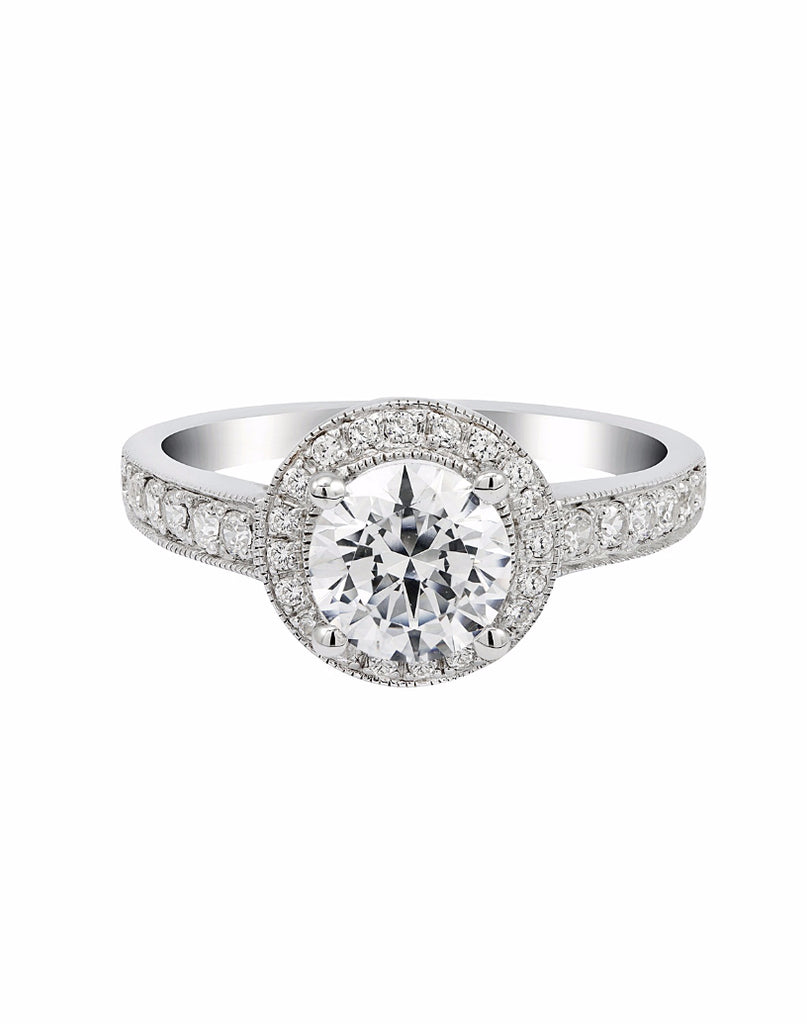 14K White Gold and Round Halo Diamond Engagement Ring