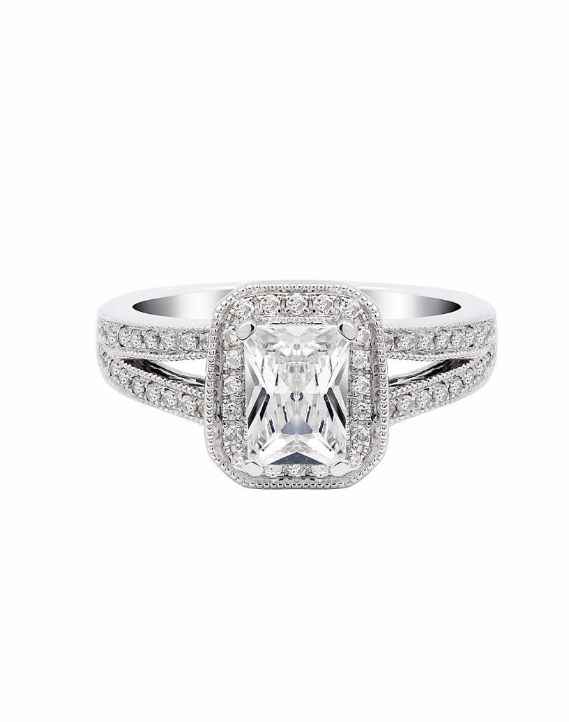 14K White Gold and Halo Diamond Split Shank Engagement Ring