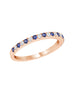 Stackable 14K White Gold and Diamond with Blue Sapphire 4-Prong Wedding Band